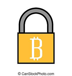 padlock with bitcoin icon