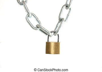 padlock with chain - a padlock holding a silver chain