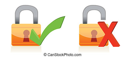 padlock with check and xmarks - Icons of padlock with check...