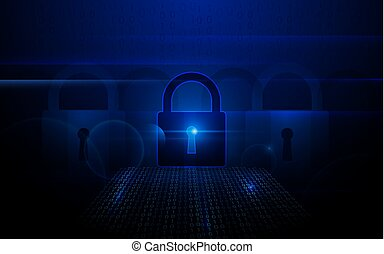 Padlock with Cyber data security Concept on dark blue background