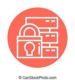 padlock with database, block and flat style icon