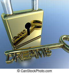 Padlock With Dreams Key Showing Wishes Hope And Future