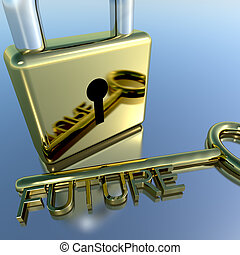 Padlock With Future Key Showing Wishes Hope And Dreams -...