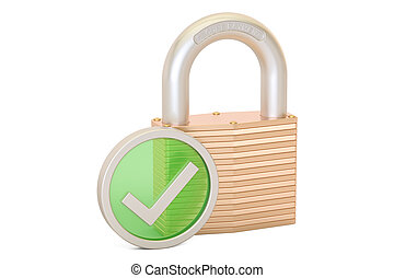 Padlock with green check mark, security payment concept. 3D rendering