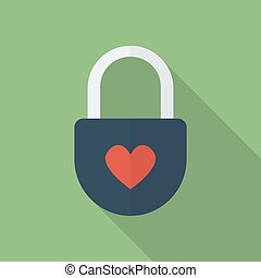 Padlock with heart. Flat style icon