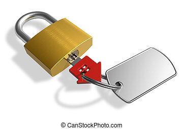 Padlock with house-shape key
