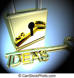 Padlock With Ideas Key Showing Improvement Concepts 3d Rendering