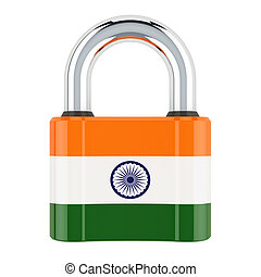 Padlock with Indian flag, 3D rendering