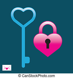 Padlock with key  - Padlock with key. Vector illustration