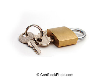 Padlock with key - A lock with the keys attached