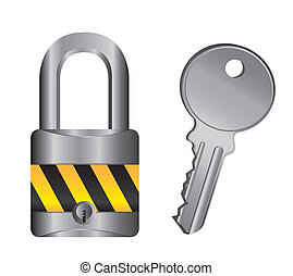 padlock with key isolated over white background. vector