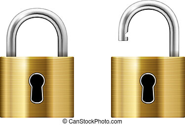 Padlock with Keyhole isolated on white background