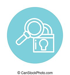 padlock with magnifying glass, block and flat style icon