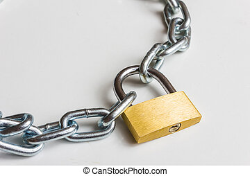 padlock with metal chain