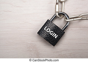 padlock with network login with a steel chain closeup top view