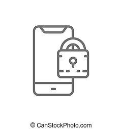 Padlock with phone, locked smartphone line icon.