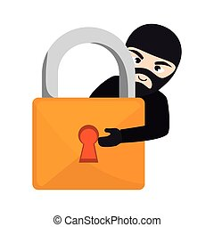 padlock with thief icon