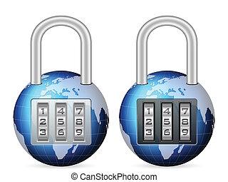 padlock world globe