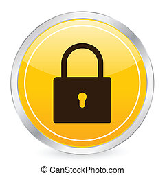 padlock yellow circle icon