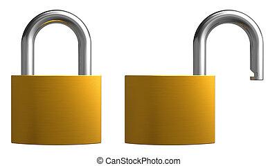 padlocks, öppnat, stängd