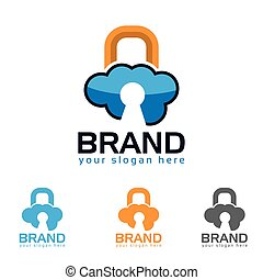 Padlocks clouds symbol logo icon. Concept of cloud computing and protecting data
