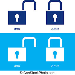 Padlocks in open and closed positions - Illustration of...
