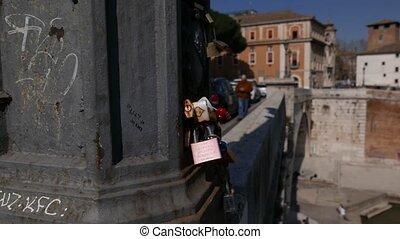 Padlocks in Rome - Padlocks on Pons Cestius bridge, Love...