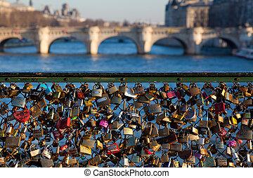Padlocks in the Pont Des Arts, Paris, Ile de France, France
