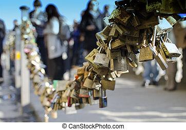 Padlocks near Ponte Vecchio, Florence, Italy