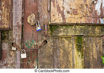 Padlocks on an old door