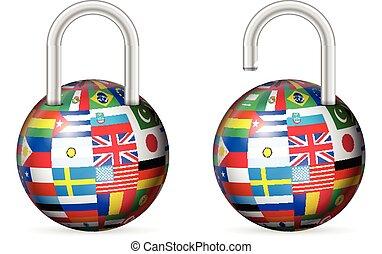padlocks, sätta, flaggan, värld