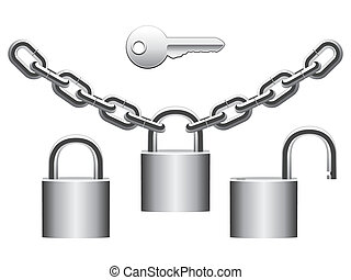 Padlocks set. - Set of metal padlocks, chains and key.