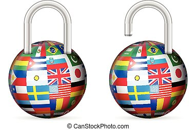 Padlocks world flags set