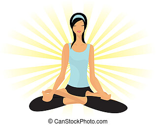 (padmasana), yoga, lotus, jonge, beoefenen, dame, houding