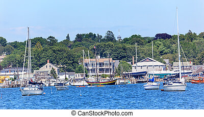 Padnaram Harbor with Boats Schooner Piers Massachusetts