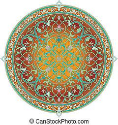 padrão, árabe, motivo, floral
