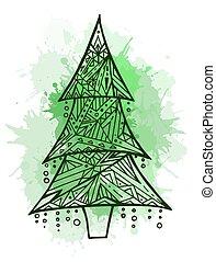padrão, árvore, ilustração, contorno, boho, w, natal
