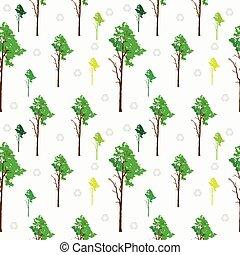 padrão, árvore, seamless, fundo, ve