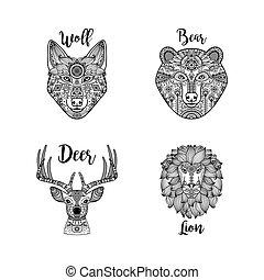 padrão, étnico, cabeças, animal, pretas