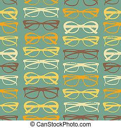 padrão, óculos de sol, seamless