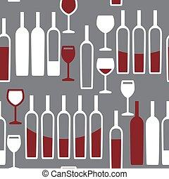 padrão, óculos, garrafas, seamless, vinho