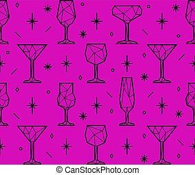 padrão, óculos, triangulo, seamless, alcoólico