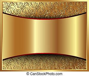 padrão, 2, fundo, ouro, metálico