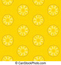 padrão, abacaxi, seamless, amarela, fatias