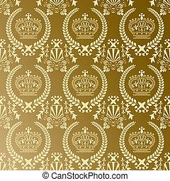 padrão, abstratos, coroa, ouro