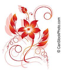 padrão, abstratos, flor