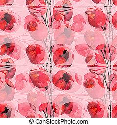 padrão, abstratos, flores, seamless, tulips