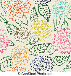 padrão, abstratos, flores, seamless