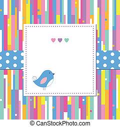 padrão, abstratos, pássaro, cartão