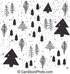 padrão, abstratos, seamless, árvores, natal
